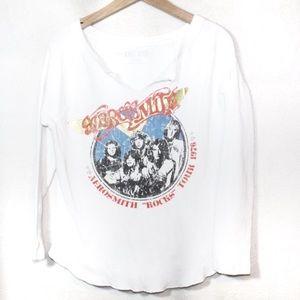 Aerosmith white graphic band tee thermal top XL